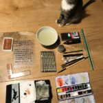 tools and cat ready for Inktober